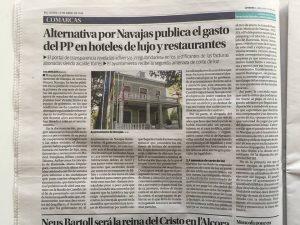 Alternativa por Navajas publica el gasto del PP en hoteles de lujo y restaurantes