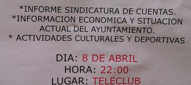El Ayuntamiento de Navajas, convoca al Pueblo.