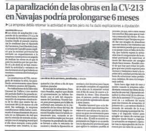 Paralización obras CV-213