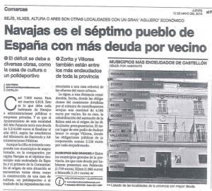 Navajas es el séptimo pueblo de España con más deuda por vecino.