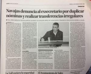 Navajas denuncia al exsecretario por duplicar nominas y realizar transferencias irregulares.
